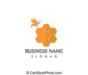 Bee icon logo template vector