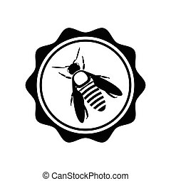 Bee icon or silhouette. Vector logotype isolated on white background.