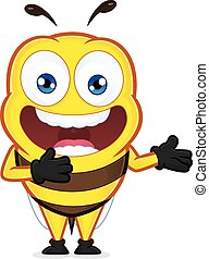 Bee in welcoming gesture - Clipart picture of a bee cartoon...