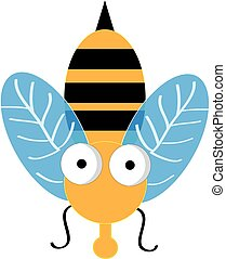 Bee isolated on white background. Vector illustration.