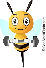 Bee lifting weight, illustration, vector on white background.