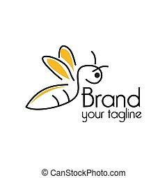 Bee line logo, flat design. Vector Illustration on white background