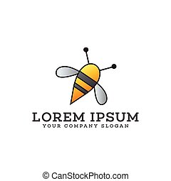 bee logo design concept template
