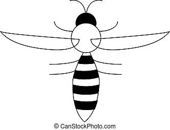 Bee logo vector icon illustration, flying wasp