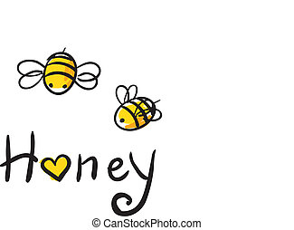 Bee Love honey vector illustration cute cartun