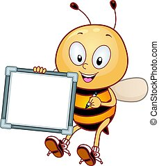 Bee Mascot Blank White Board - Mascot Illustration Featuring...