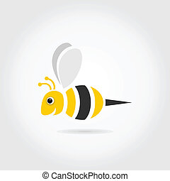 Bee on a grey background. A vector illustration