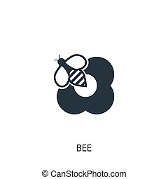 Bee on flower icon. Simple gardening element illustration. Vector symbol design from agriculture collection. Can be used in web and mobile.