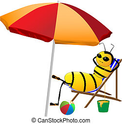bee on holiday - vector illustration of bee on holiday...