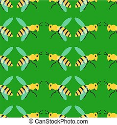 Bee pattern on green background