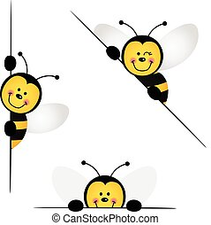 Bee peeking from behind in various