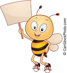 Bee Placard - Illustration of a Bee Holding a Placard