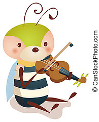 bee playing violin - illustration drawing of a lovely bee...