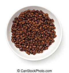 Bee Pollen Propolis In White Bowl Isolated