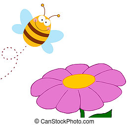 Bee Pollinating A Purple Daisy