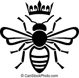bee queen with crown vector illustration