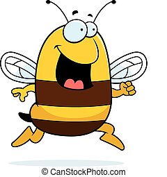 Bee Running - A happy cartoon bee running and smiling.