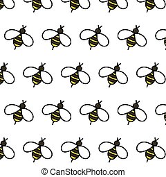 bee seamless doodle pattern, vector color illustration