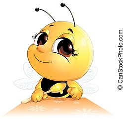bee sits with a spoon - bee sits at a table with a spoon on...