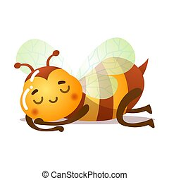 Bee sleeping with eyes closed vector illustration