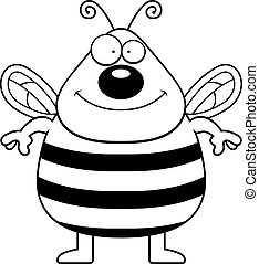 Bee Smiling - A happy cartoon bee standing and smiling.
