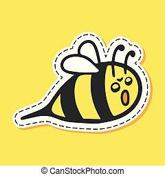 Bee sticker cartoon