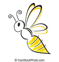 bee stylized symbol black and yellow