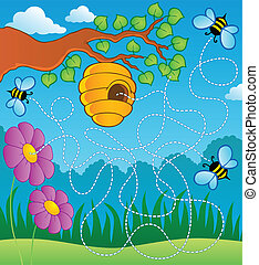 Bee theme maze - vector illustration.