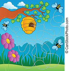 Bee theme maze - vector illustration.