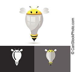 Bee Think Idea Lamp Icon Logo Vector