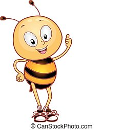Bee Thumbs Up - Illustration of a Bee Giving a Thumbs Up