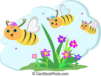 Here's a trio of Bees having fun in a flower garden.
