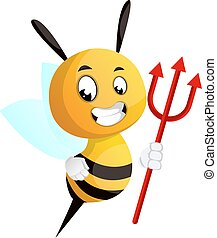 Bee with a trident, illustration, vector on white background.