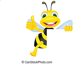 Bee with blank sign - Vector illustration of bee with blank ...