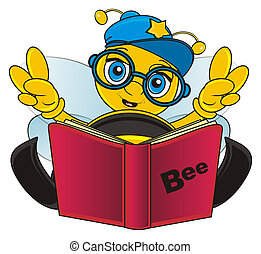 bee with book - bee sit near the book and sho wgesture peace