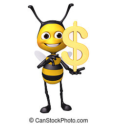bee with dollar  - 3d render illustration bee collection