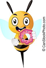 Bee with dount, illustration, vector on white background.