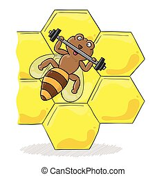 bee with dumbbell