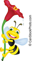 Vector illustration of bee with flower