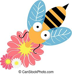 Bee with flowers isolated on white background. Vector illustration.