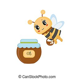 Bee with honey pot