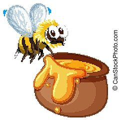 Bee with honey pot on white background