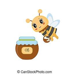 Bee with honey pot