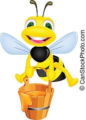 Bee with honey - Vector illustration of bee cartoon carrying...