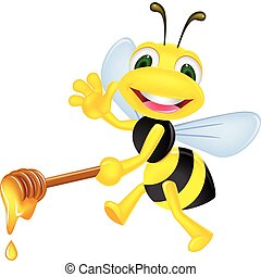 Bee with honey - Vector illustration of bee with honey