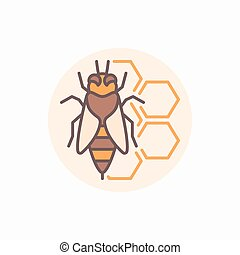Bee with honeycomb flat icon