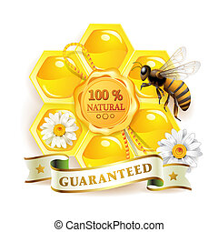 Bee with honeycombs and quality seal isolated on white