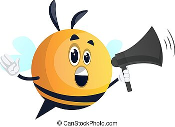 Bee with megaphone, illustration, vector on white background.
