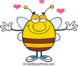 Bee With Open Arms For Hugging - Smiling Pudgy Bee Cartoon...