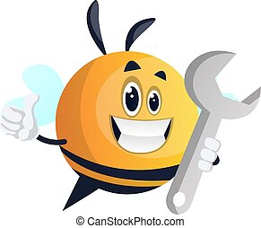 Bee with wrench, illustration, vector on white background.